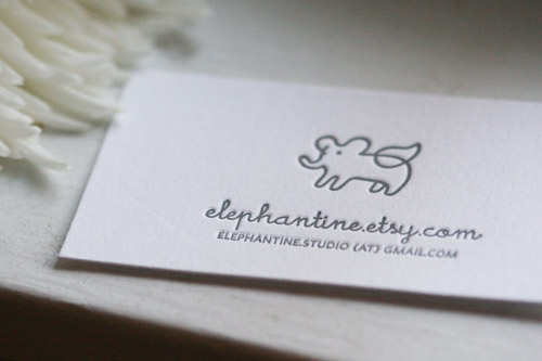 I love letterpress elephantine my business cards arrived this weekend and i loooove them janie of we heart paper did a beautiful job printing them i also have some notecards with the colourmoves