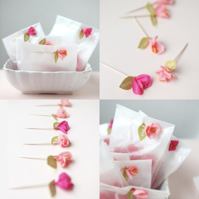 Mini crepe flowers elephantine this mini crepe paper flower favor tutorial over at oh happy day is the sweetest mightylinksfo